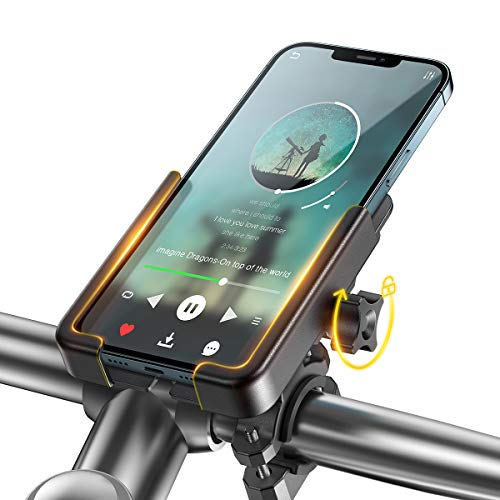Bike Phone Holder Mount, WOEOA Universal Mobile Phone Holder for Mountain Bike Aluminum Cycle Bicycle Phone Mount for iPhone Samsung 4.5'-6.7' Handlebar