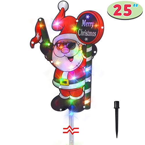 JOYIN 25' Tall Christmas Lighted Santa Claus with Merry Christmas Sign for Best Holiday Outside Yard Decorations Stake