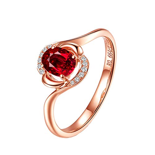 Daesar Anillos Oro Rosa Mujer 18K Diamante 0.6 ct Rubí Anillo Oro Rosa Anillos Boda Talla 11