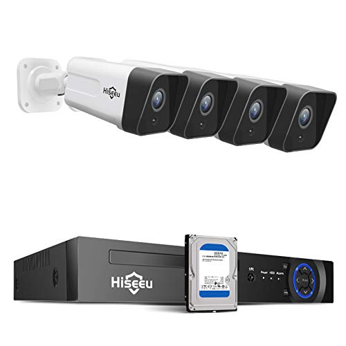 Hiseeu 5MP PoE Security Camera System, 8CH Wired Home Security System with Face Detect, 4pcs 5MP IP Outdoor PoE Camera with 1-Way Audio,Surveillance NVR Kit Built-in 1TB Hard Drive, No Monthly Fee