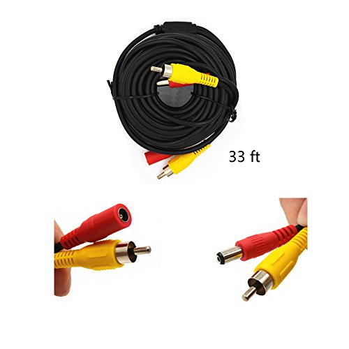 Camecho RCA DC 12V Power Audio Video AV Extension Cable for Cars/Tuck/Bus/Trailer Reverse Parking System (33 FT AV Cable)