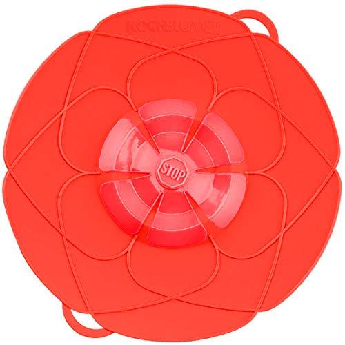 Kochblume vom Erfinder Armin Harecker L 29 cm rot | Überkochschutz für Topfgrößen von Ø 14 bis 24 cm | Set mit Microfasertuch!