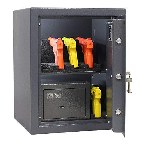 Rottner Caja fuerte para armas cortas (nivel de seguridad), diseño de puño B, doble barra, color negro, 42 x 52 cm, material de fijación, soporte para armas cortas