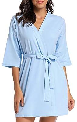 Women's Robe Soft Kimono Knit Spa Bathrobe Sleepwear Loungewear XS-XL
