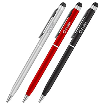 PRO Stylus Pen for Samsung Galaxy Tab S3 with Ink High Accuracy Extra Sensitive Compact Form for Touch Screens [3 Pack-Black-Red-Silver]