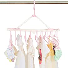 YUVASTONE 10 in 1 Clothes Hanger Drying Rack, Laundry Hanger, Multi-Layer Foldable Plastic Hangers,Creative Cabinet Multifunctional Drying Coat Rack,Great Savings in Storage Space (Pink)