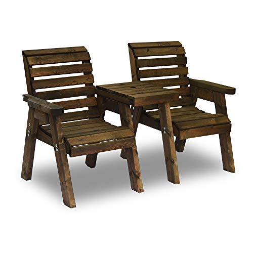 Barrowden Garden Companion Seat - Straight (Rustic Brown)