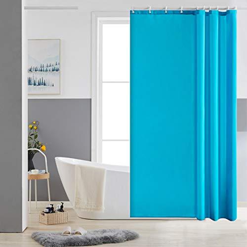 Furlinic Duschvorhang 120x180 Textil Badvorhang aus Polyester Stoff Schimmelresistent Wasserabweisend Waschbar Aquamarine mit 8 Duschvorhangringen.