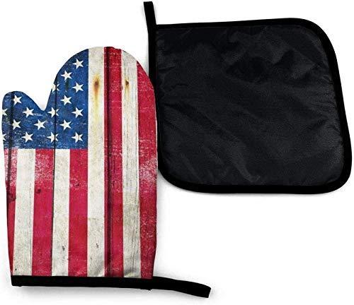 Vintage madera bandera americana patriota antiguo horno de microondas mitones y porta ollas juego de cubierta de aislamiento térmico manta estera almohadilla mitones guantes antideslizantes para barba
