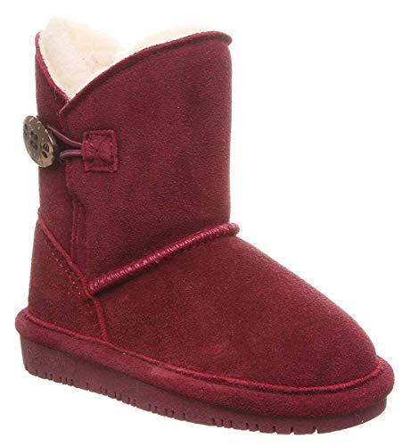 Bearpaw Casual Boots Girls Rosie 5' Cow Suede 11 Child Wine 1653T