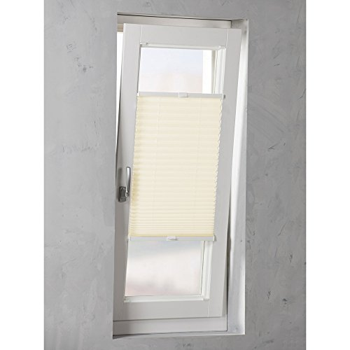 Original Easy-Shadow Plissee verspannt Faltstore in der Farbe creme / Breite 37 cm x Höhe 60 cm / 37x60 cm - Montage im Rahmen in der Glasleiste / Maßanfertigung