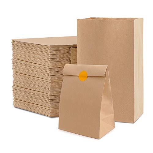 Segarty Paper Lunch Bags, 100 Count 11 x 4 x 6 Inch Oil-Proof Brown Paper Bag for Men Women Kids Retail Shopping as Heavy Duty Kraft Sandwich Bread Snack Grocery Bag