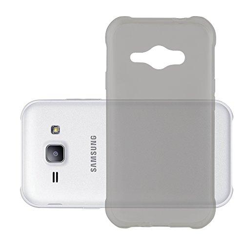 Preisvergleich Produktbild Cadorabo Hülle für Samsung Galaxy J1 ACE - Hülle in TRANSPARENT SCHWARZ Handyhülle aus TPU Silikon im Ultra Slim 'AIR' Design - Silikonhülle Schutzhülle Soft Back Cover Case Bumper