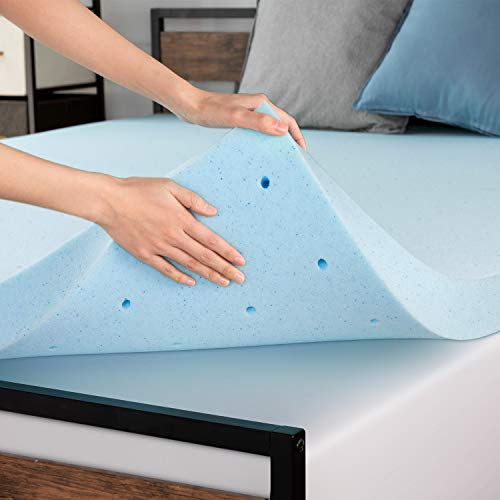 RUUF 3 Inch Mattress Topper Queen, Ventilated Gel Infused Memory Foam with CertiPUR-US Certified, Cloud-Like Soft