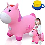 Unicorn Bouncy Horse Pink Hopping Animal Toys Inflatable Hopper Unique Riding Gifts for Girl (W/Foot Pump)