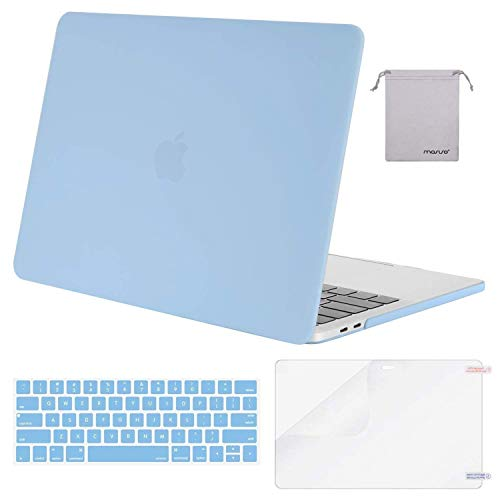 MOSISO MacBook Pro 13 inch Case 2019 2018 2017 2016 Release A2159 A1989 A1706 A1708, Plastic Hard Shell &Keyboard Cover &Screen Protector &Storage Bag Compatible with MacBook Pro 13, Airy Blue