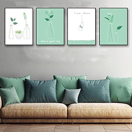 Póster moderno nórdico de estilo sencillo para habitación de niña, impresión de pared, creativo, minimalista, de lona, flores, hojas verdes, decoración de botellas (50 x 70 cm) 4