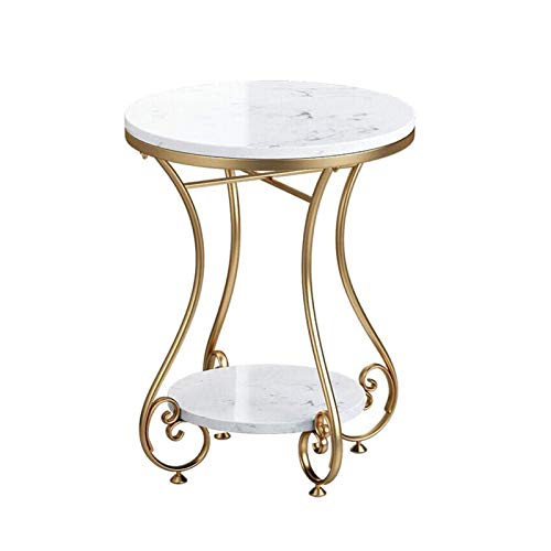 BLLXMX End Tables Coffee Tables Double Layer Round End Side Table for Living Room, Marble Top,Metal Modern Nightstand Gold (Color : White)