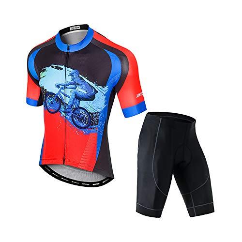 Yajun Maillots De Cyclisme Hommes VTT été Vêtements De Vélo De Route Ensemble De Cuissard 3D Collants D'équitation Rembourrés Shorts à Séchage Rapide,Riding-Red,M