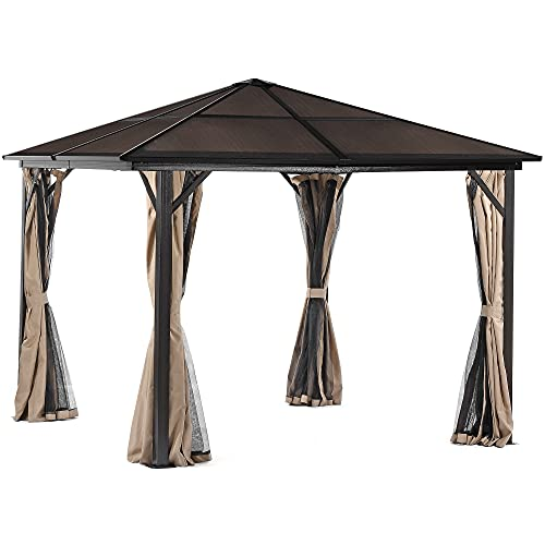YITAHOME 10x10 ft Outdoor Aluminum Frame Canopy Gazebo with Nettingand Shaded Curtains,...