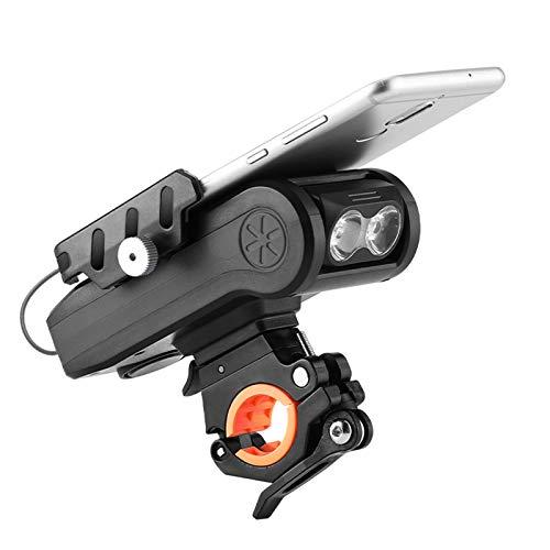 Luci per bici con supporto per telefono, luci per bici ricaricabili, 3 modalità di illuminazione, accessori per bici da strada, impermeabili, campanello per bicicletta 4 in 1 (01 4000mA black)