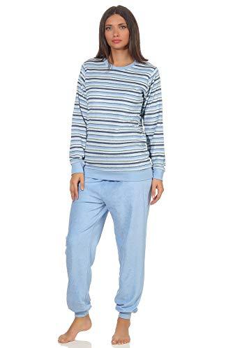 Eleganter Damen Frottee Pyjama Schlafanzug mit Bündchen in Streifenoptik - 291 201 13 572, Farbe:hellblau, Größe2:40/42