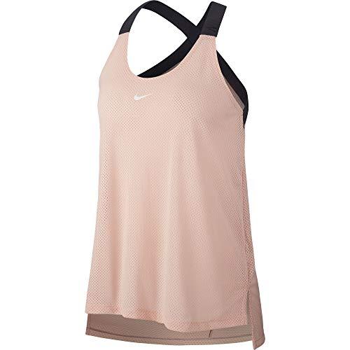 Nike W Nk Tank Elstka Mesh, Camiseta Deportiva de Tirantes para Mujer, Rosa (Storm Pink/Gridiron/White 646), Large