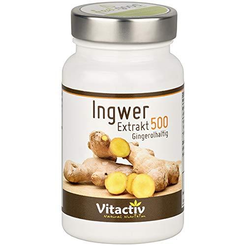 INGWER Extrakt 500 - Mehr als 160 Nährstoffe in einer Knolle – hochdosiert - 60 Kapseln (Monatspack)