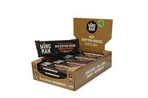 WINGMAN Koffein - Riegel (Choco Crunch-Geschmack, 16 Riegel) | Vegan & Proteinquelle | Energieriegel mit Koffein