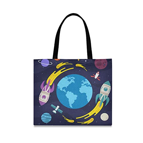 Earth Rocket Reusable Shopping Tote Grocery Foldable Bag Portable Storage Shoulder Bags Handbags for Travel Women Girls