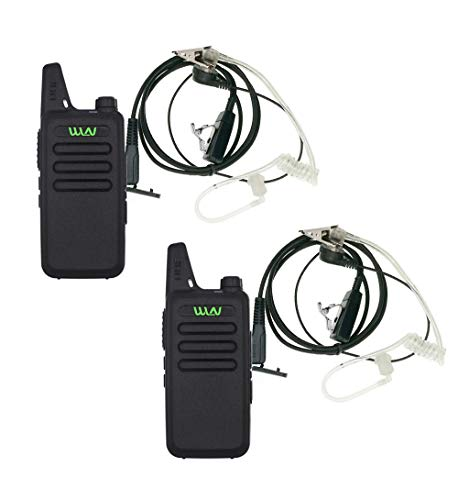 2PCS WLN KD-C1 UHF 400-470 MHz Mini Walkie Talkies with Earpiece Rechargeable 3 Watt Hands Free Two Way Radio