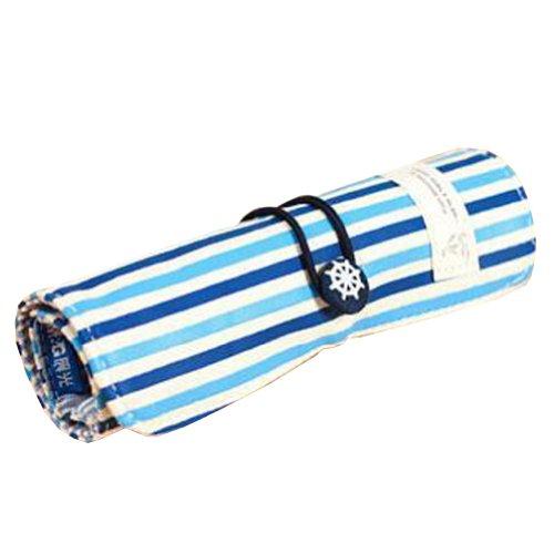 Navy Stripe Canvas Pen Pencil Cosmetic Pouch Purse Bag Roll (19.5x26.7cm) BLUE