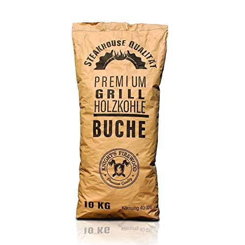 Knight's Firewood 10 kg Grillkohle Premium Holzkohle Buche Grillholzkohle Buchenholzkohle Steakhauskohle