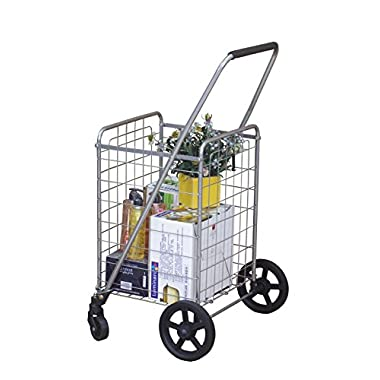 Wellmax WM99024S Grocery Utility Shopping Cart | Easily Collapsible and Portable to Save Space + Heavy Duty, Light Weight Trolley with Rolling Swivel Wheels
