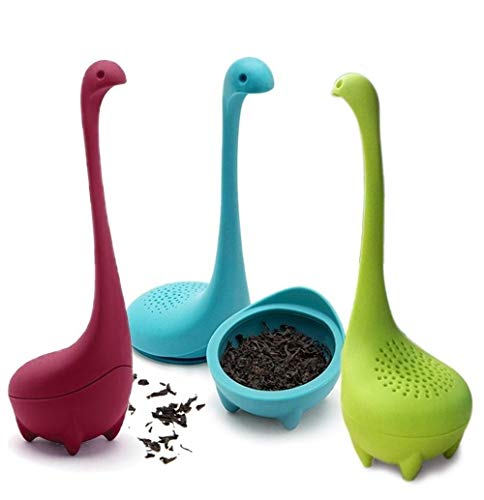 Willlly 3 Pack Nessie Loose Leaf Tea Chic Casual Infuser Loss Ness Monster Tea Strainer Food Grade Silicone Long Handle Neck (3 Farben) (Color : Colour, Size : Size)