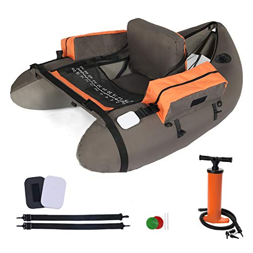 LAZZO Inflatable Fishing Float Tube with Hand Air Pump, Flotation Boat with Orange Storage Pockets, Inflatable Seat and backrest, Fish Ruler, Adjustable Straps, Bearing 286lbs, Gray