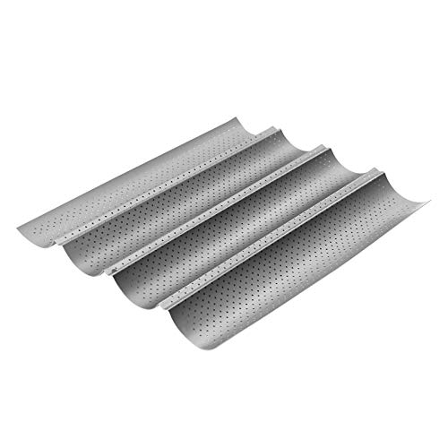 YARDWE Non Stick French Bread Mould, Baguette Baking Tray Perforated French Stick Loaf Baking Molds Pan for 4 Baguettes, Baking French Bread, French Stick Loaf, Baking Pan (Silver)