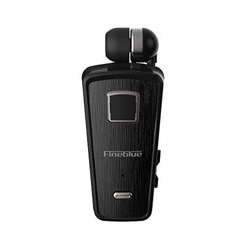 docooler Fineblue F980 Clip-on Bluetooth 4.0 Cuffie Cavo Auricolare Retrattile Cuffie Stereo Musica Avviso Vibrazione Vivavoce con Microfono Connessione Multi-Punto