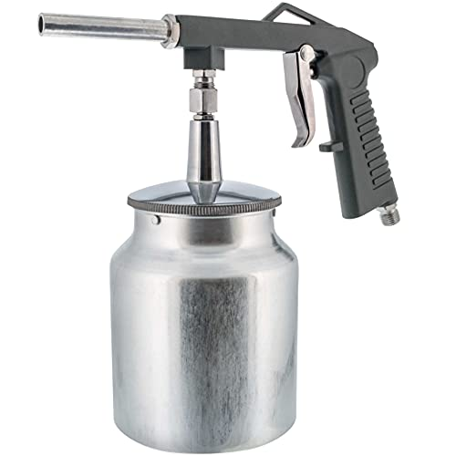 TCP Global Air Undercoating Spray Gun with Suction Feed Cup - Apply Sprayable Truck Bed Liner Coating, Rubberized Undercoat, Rust Proofing, Chip Guard Paint - Pneumatic Automotive Application Sprayer