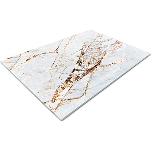Chopping Board | Glass Chopping Boards for Kitchens | Glass Worktop Savers for Kitchen | Cutting Boards for Kitchen | Chopping Board Non Slip | Small Chopping Board | Marble Effect White Gold