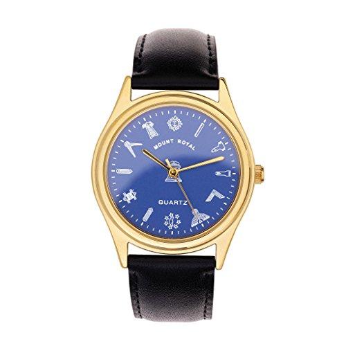 Masonic G407 - Orologio da polso da uomo, placcato oro e blu