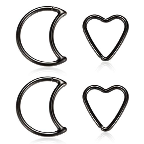 Kzslive 4pcs 18G Black Heart Moon Cartilage Helix Earrings Surgical Steel Septum Nose Tragus Rook Daith Hoop Piercing Jewelry