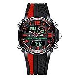 WTY Mode Quarz-Armbanduhren Männer Casual wasserdichte Uhren Wochenanzeige Kompletter Kalender Digitale Doppelanzeige Multifunktionsuhren,Rot