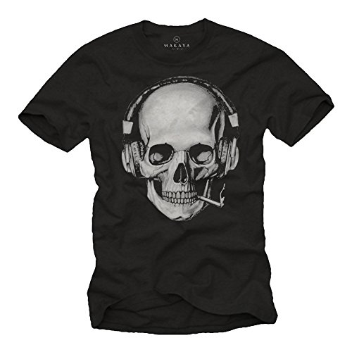 Tee Shirt Tete de Mort Homme - Swag Musique Rock Skull avec Casque Noir XL