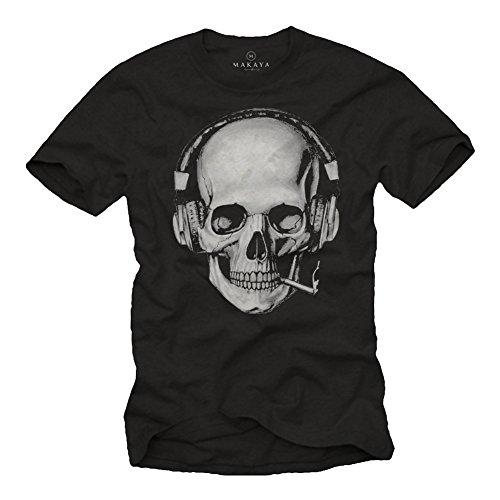 Totenkopf T-Shirt mit Kopfhörer - Skull Rock Band Musik Shirt für Herren schwarz XL