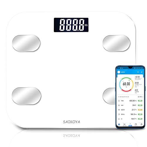 体重計 体脂肪計 体組成計 ヘルスメーター bluetooth スマホ連動 USB充電式 アプリと同期 体重/BMI/体脂肪率/筋肉量/体水分率/内臓脂肪レベル/骨量/基礎代謝量8項目測定可能 デジタル ボディスケール スマートスケール プレゼント (ホワイト)