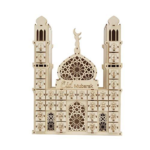 TOYANDONA Ramadan Count Down Calendar Wooden Eid Mubarak Wall Calendars Eid Ramadan Hanging Ornament Islamic Muslim Party Supplies Style 1