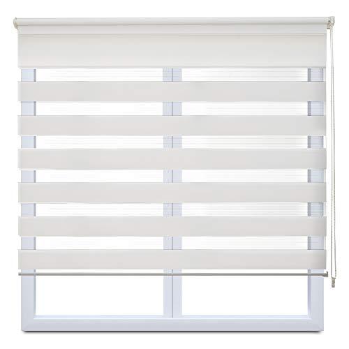 Frenessa Estor Enrollable Doble Tejido Noche y Día Persiana Enrollable para Ventanas Puertas Dormitorios Oficinas, Blanco, 140 x 180 cm