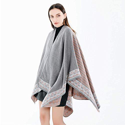 MHO Dames Gestreepte Warm Sjaal Vrouwen Poncho Sjaal Vest Open Voor Elegante Cape Wrap Fleece Winter Deken Poncho Cape Sjaal Jas Grijs Roze