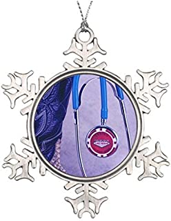 OneMtoss Christmas Snowflake Ornament Ideas for Decorating Christmas Trees Nurse Purple Western Boot Doctor Gambling Stethoscope Personalised Christmas Snowflake Ornaments